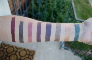 In shade, left to right: Enchantress, Tower, 12th, Cravings, Tight Dress, Bae, Bartok, Rainforest
