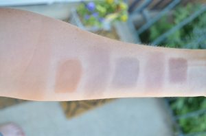 In shade, left to right: NARS Altai, Pumpkin and Poppy Oak Bark, NYX Taupe blush
